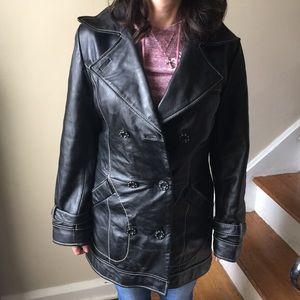 Jackets & Blazers - Retro double breast leather jacket